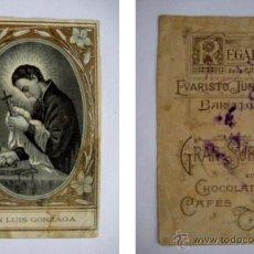 Coleccionismo Cromos antiguos: TARJETA PUBLICIDAD : SAN LUIS GONZAGA - CHOCOLATES EVARISTO JUNCOSA. Lote 45750098