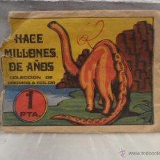 Coleccionismo Cromos antiguos: SOBRE VACIO DE LA COLECCION Y ALBUM HACE MILLONES DE AÑOS 1 PTA . Lote 46625340