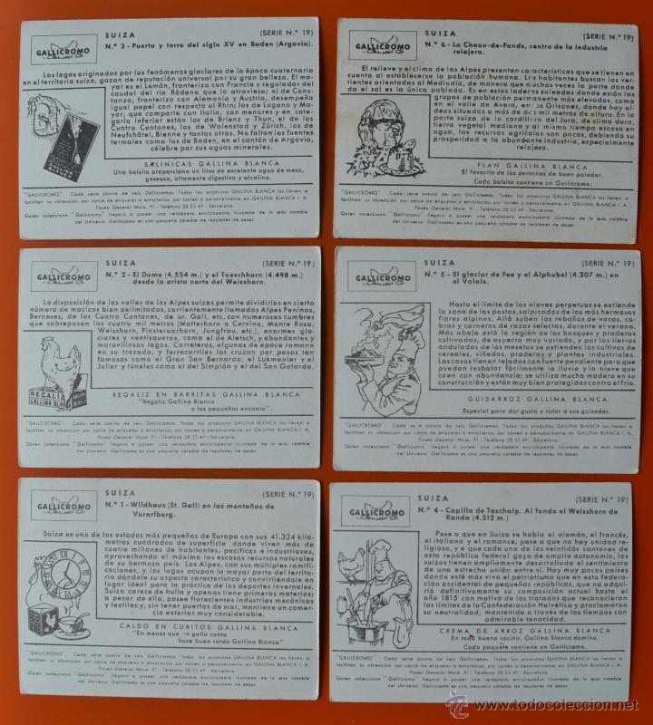 Coleccionismo Cromos antiguos: SUIZA - COLECCION DE 6 CROMOS ANTIGUOS - GALLINA BLANCA - GALLICROMO SERIE Nº 19 - Foto 2 - 48110523