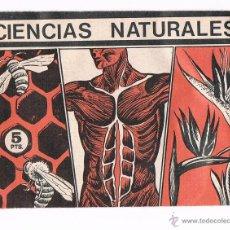 Coleccionismo Cromos antiguos: SOBRE CROMOS CIENCIAS NATURALES CROMOS S.A. SIN ABRIR CERRADO ANTIGUO CROMO. Lote 48160146
