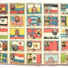 Coleccionismo Cromos antiguos: LAMINA DE 25 CROMOS DE BANDERAS Y HOMBRES CELEBRES CHOCOLATES EVARISTO JUNCOSA AÑOS 30 - 40. Lote 48283897