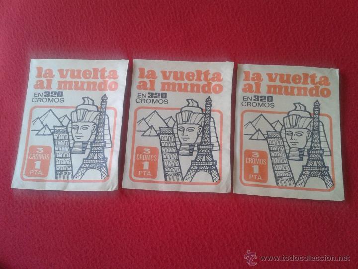 LOTE DE 3 SOBRES DE CROMOS SIN ABRIR DE LA COLECCION LA VUELTA AL MUNDO EN 320 BRUGUERA 1971 ESCASOS (Coleccionismo - Cromos y Álbumes - Cromos Antiguos)