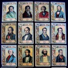 Coleccionismo Cromos antiguos: 16 CROMOS-FOTOTIPIAS DIFERENTES DE CAJA CERILLAS. MUSICOS. SERIE 26. AÑOS 20. FOSFORERA ESPAÑOLA. . Lote 51768669