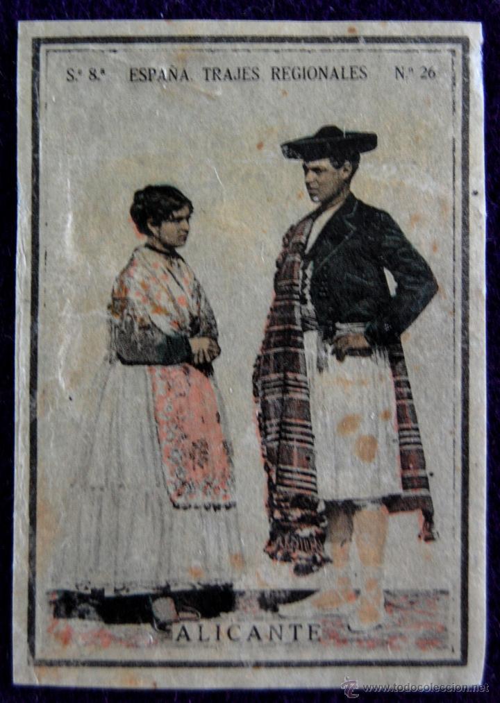 ANTIGUO CROMO DE ALICANTE. Nº26. ESPAÑA. TRAJES REGIONALES. CAJAS DE CERILLAS. AÑOS 30. (Coleccionismo - Cromos y Álbumes - Cromos Antiguos)