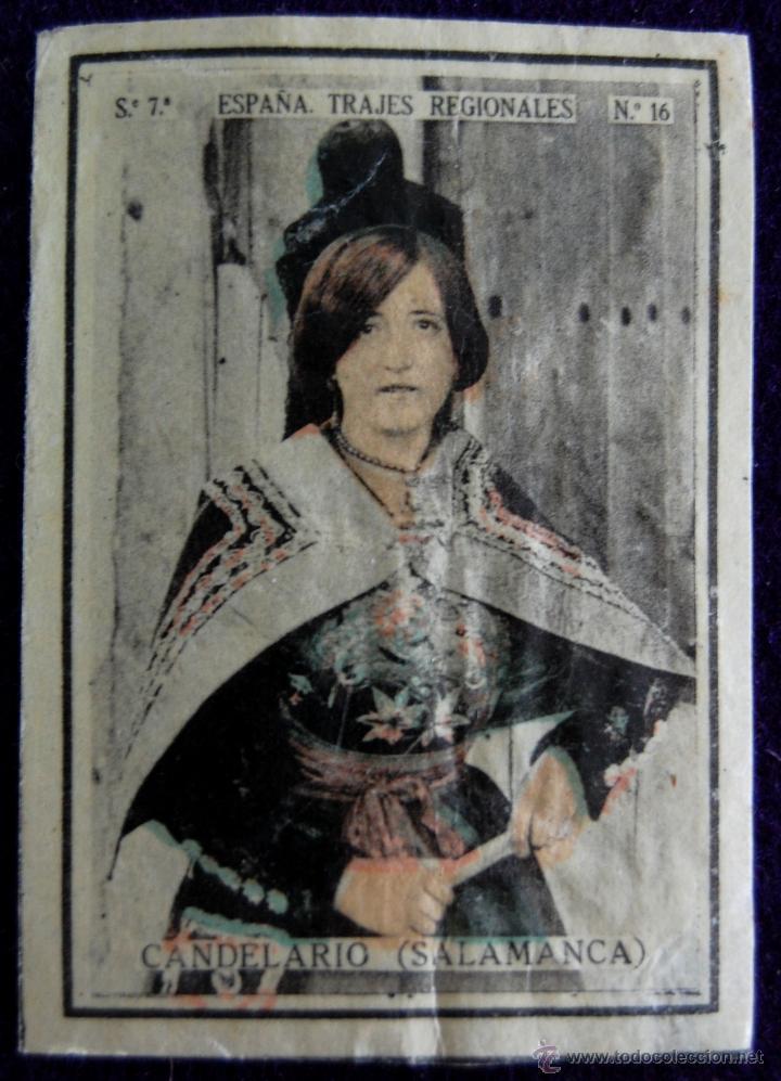 ANTIGUO CROMO CANDELARIO (SALAMANCA) 12. ESPAÑA.TRAJES REGIONALES.SERIE 7.CAJAS DE CERILLAS.AÑOS 30 (Coleccionismo - Cromos y Álbumes - Cromos Antiguos)