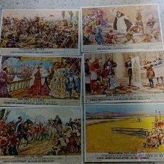 Coleccionismo Cromos antiguos: COLECCION COMPLETA 6 CROMOS LIEBIG GESCHIEDENIS VAN ITALIE ESCRITOS EN BELGA O FLAMENCO . Lote 51971684