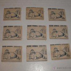 Coleccionismo Cromos antiguos: CROMOS 9 SOBRES COMPLETOS ALBUM REINO ANIMAL EDICIONES COSTA. Lote 52011513