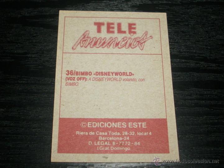 Coleccionismo Cromos antiguos: -CROMO TELE ANUNCIOS : 36 BIMBO , DISNEYWORLD . - Foto 2 - 53793108