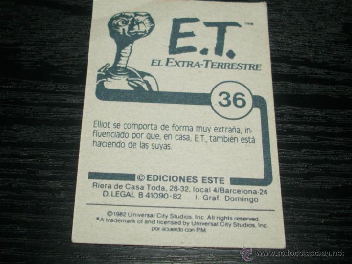 Coleccionismo Cromos antiguos: -ESTE E.T. EL EXTRATERRESTE 1982 : NUMERO 36 - Foto 2 - 53961717