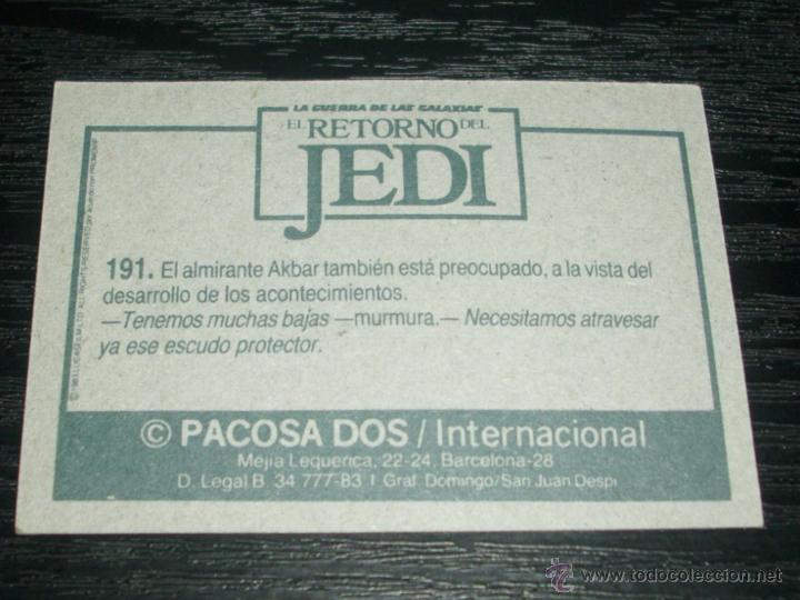 Coleccionismo Cromos antiguos: -EL RETORNO DEL JEDI ,PACOSA DOS 1983 : NUMERO 191 - Foto 2 - 54000703