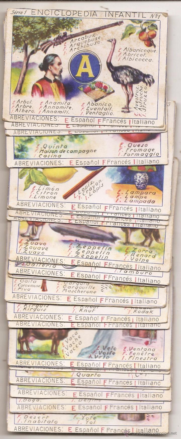 ENCICLOPEDIA INFANTIL. 28 CROMOS ANTIGUOS. PRIMERA SERIE (Coleccionismo - Cromos y Álbumes - Cromos Antiguos)