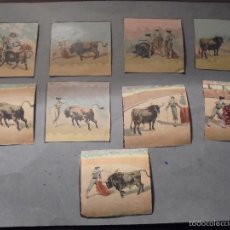 Coleccionismo Cromos antiguos: TAUROMAQUIA - 9 CROMOS LITOGRAFIADOS PRINCIPIO S. XX - 6,5X6,5 CM. . Lote 55101791