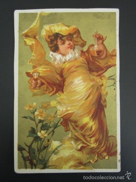 ANTIGUO CROMO. AÑO 1898. 10 X 6.5 CM (Coleccionismo - Cromos y Álbumes - Cromos Antiguos)