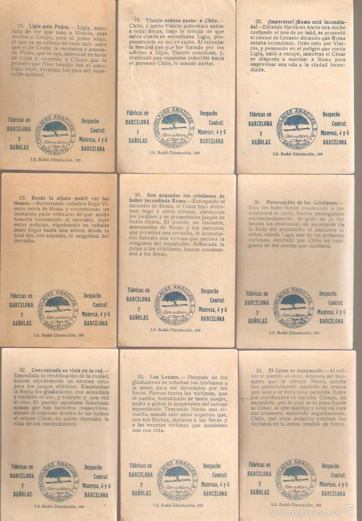 Coleccionismo Cromos antiguos: 17 cromos QUO VADIS. Chocolate Amatller. ver numeros. - VELL I BELL - Foto 3 - 58247996