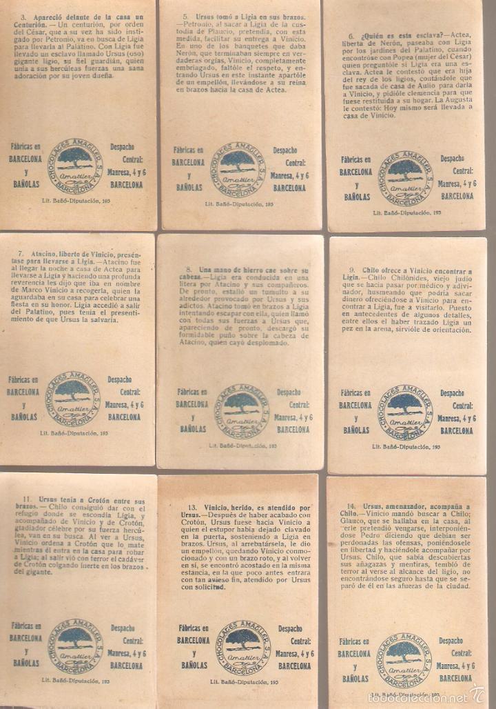 Coleccionismo Cromos antiguos: 17 cromos QUO VADIS. Chocolate Amatller. ver numeros. - VELL I BELL - Foto 4 - 58247996