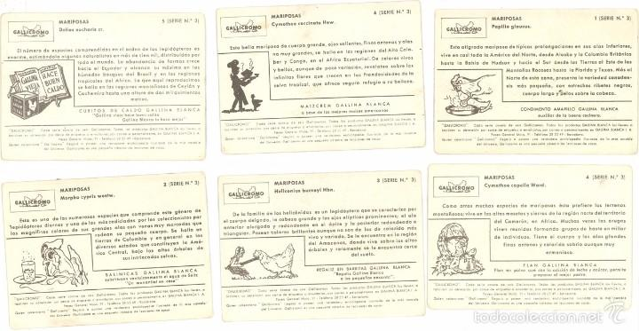 Coleccionismo Cromos antiguos: LOTE: 6 CROMOS, GALLICROMOS GALLICROMO SERIE Nº3 COMPLETA MARIPOSA, MAIZCREM GALLINA BLANCA, AÑOS 50 - Foto 2 - 58266848