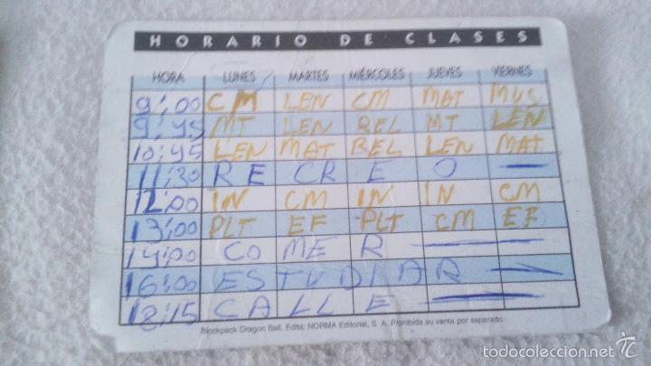 Coleccionismo Cromos antiguos: TARJETA CARTA DRAGONBALL BOLA DE DRAGON HORARIO DE CLASES 1989. EDITA NORMA EDITORIAL - Foto 2 - 58591422