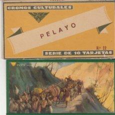 Coleccionismo Cromos antiguos: TARJETAS CULTURALES : PELAYO (SERIE DE 10 TARJETAS). Lote 60104851