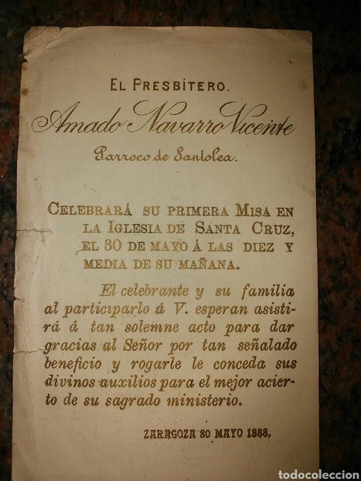 Coleccionismo Cromos antiguos: Estampa cromo religioso del año 1888. Párroco de Santolea - Foto 2 - 62640974
