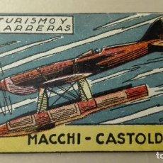 Coleccionismo Cromos antiguos: CROMO AVIACIÓN AVIONES EDITORIAL CISNE 1942 TURISMO Y CARRERAS MACCHI CASTOLDI NUNCA PEGADO. Lote 63172276