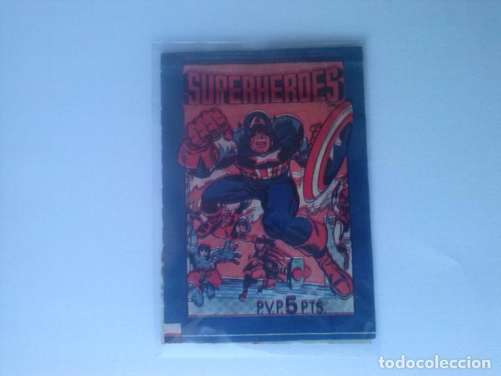 SUPERHEROES - SOBRE DE CROMOS SIN ABRIR - FHER - 1980 (Coleccionismo - Cromos y Álbumes - Cromos Antiguos)