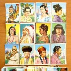 Coleccionismo Cromos antiguos: RAZAS HUMANAS - EDITORIAL BRUGUERA 1958 - LOTE DE 248 CROMOS NUEVOS Y DIFERENTES. Lote 72143947