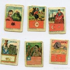 Coleccionismo Cromos antiguos: LOTE 6 CROMOS BANDERAS PERSIA EGIPTO LIBERIA TUNEZ TURQUIA ALBANIA - 31-26-42-43-4-32 MINI CROMOS. Lote 72363143