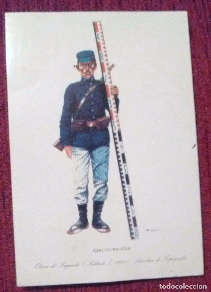 CROMO EJÉRCITO ESPAÑOL OBRERO DE SEGUNDA SOLDADO 1918 AUXILIAR DE TOPOGRAFÍA- SIN MAS DATOS (Coleccionismo - Cromos y Álbumes - Cromos Antiguos)