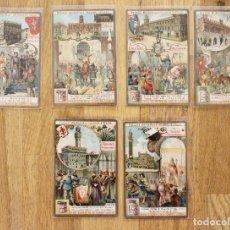 Coleccionismo Cromos antiguos: LIEBIG -COLECCION COMPLETA PALACIOS MUNICIPALES CELEBRES DE ITALIA , MUY BUEN ESTADO, 11 X 7 CM. Lote 87121208