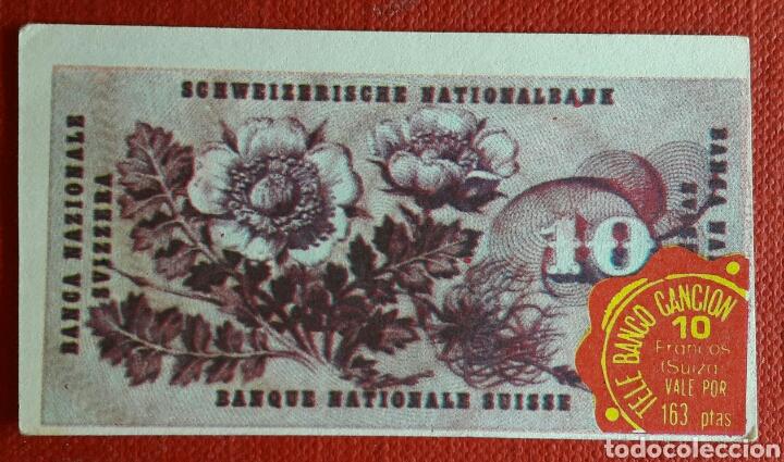 Coleccionismo Cromos antiguos: Billete tele banco cancion 10 francos - Foto 2 - 87124711