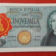 Coleccionismo Cromos antiguos: BILLETE TELE BANCO CANCION 5000 LIRAS. Lote 87147142