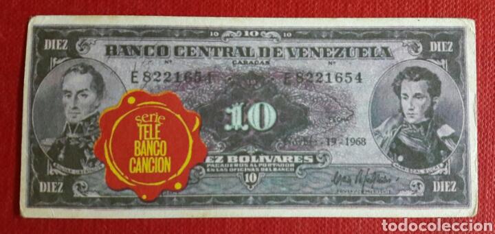 BILLETE TELE BANCO CANCION 10 BOLIVARES (Coleccionismo - Cromos y Álbumes - Cromos Antiguos)
