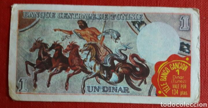 Coleccionismo Cromos antiguos: Billete tele banco cancion 1 dinar - Foto 2 - 87201422