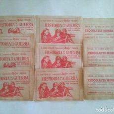 Coleccionismo Cromos antiguos: 10 SOBRES DE CROMOS SIN ABRIR HISTORIA DE LA GUERRA. CHOCOLATES MOHER SOBRE CROMO. Lote 88758968