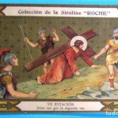 Coleccionismo Cromos antiguos: VÍA CRUCIS. VII ESTACIÓN. JESÚS CAE POR SEGUNDA VEZ. COLECCIÓN DE LA SIROLINE ROCHE.. Lote 90331444