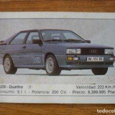 Coleccionismo Cromos antiguos: CROMO COCHES Nº 13 AUDI QUATTRO - DESPEGADO - EDICIONES UNIDAS MOTOR 16 1986. Lote 91593925