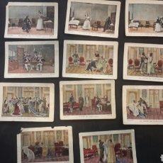 """Coleccionismo Cromos antiguos: 11 CROMOS MUY RAROS. LA INDUSTRIA ARAGONESA CHOCOLATE JACA. """"LA CORTE DE NAPOLEON"""". Lote 91692244"""
