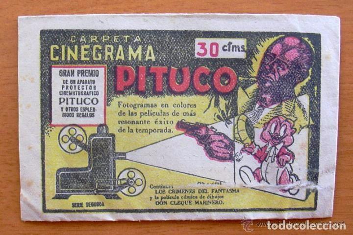 LOS CRIMENES DEL FANTASMA - BAGUÑA HERMANOS 1946 - CINEGRAMA PITUCO, SOBRE DE CROMOS VACIO (Coleccionismo - Cromos y Álbumes - Cromos Antiguos)