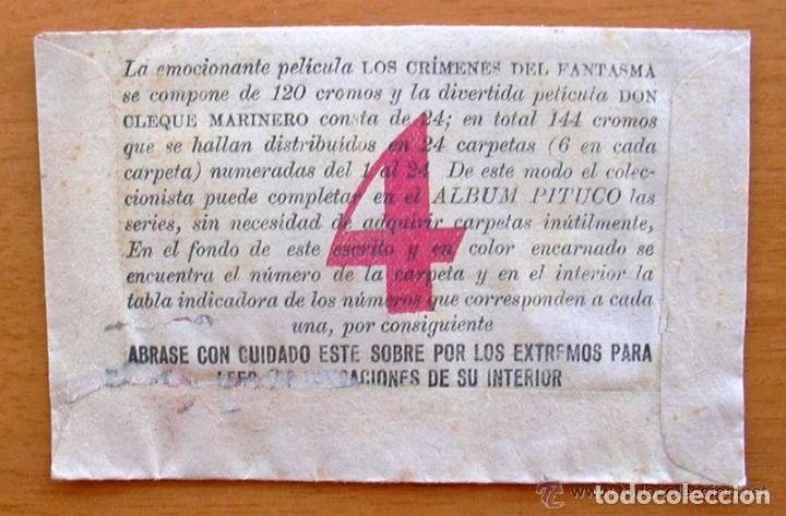 Coleccionismo Cromos antiguos: Los crimenes del fantasma - Baguña Hermanos 1946 - Cinegrama Pituco, sobre de cromos vacio - Foto 2 - 93907390