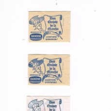 Coleccionismo Cromos antiguos: LOTE 3 SOBRES DE CROMOS DON QUIJOTE DE LA MANCHA DANONE SIN ABRIR CERRADO ANTIGUO. Lote 93952600