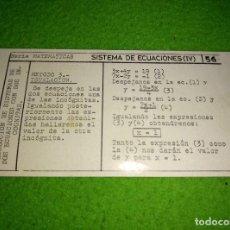 Coleccionismo Cromos antiguos: CHULETA SERIE MATEMÁTICAS Nº 36. SISTEMAS DE ECUACIONES (IV). COLECCIÓN ESTUDIO DAMEL. Lote 98348271