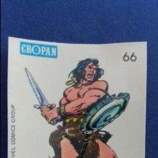Coleccionismo Cromos antiguos: CROPAN CROMO PLASTICO ALBUM SUPER HEROES MARVEL NUMERO 66 CONAN SERIE CAPA PROTECTORA BASTANTE NUEVO. Lote 100228127