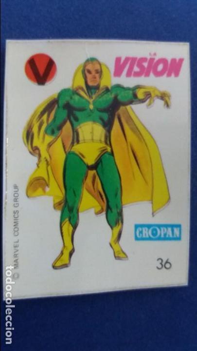 CROPAN CROMO PLASTICO SUPER HEROES MARVEL NUMERO 36 LA VISION SERIE CAPA PROTECTORA BASTANTE NUEVO (Coleccionismo - Cromos y Álbumes - Cromos Antiguos)