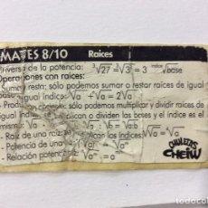 Coleccionismo Cromos antiguos: CROMO CHULETAS CHEIW MATES 8/10 RAICES. Lote 100506367