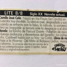 Coleccionismo Cromos antiguos: CROMO CHULETAS CHEIW LITE 8/8 SIGLO XX NOVELA ACTUAL. Lote 100506531