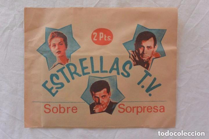 SOBRE SORPRESA CROMOS ESTRELLAS TV (Coleccionismo - Cromos y Álbumes - Cromos Antiguos)
