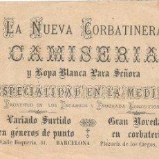 Coleccionismo Cromos antiguos: LA NUEVA CORBATINERA CAMISERIA CALLE BOQUERIA BARCELONA CROMO LITOGRAFIA A. TRINXE AÑOS 20. Lote 103789115