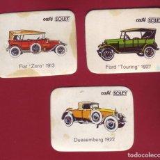 Coleccionismo Cromos antiguos: COLECCIÓN DE UNOS 3 CROMOS DE AUTOMÓVILES DE CAFÉ SOLEY. Lote 108414955