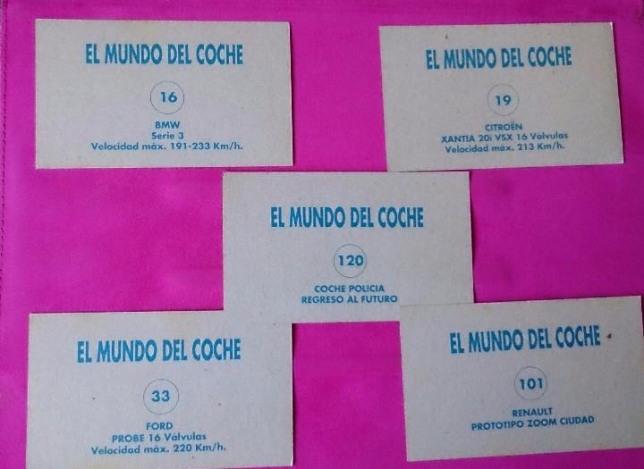 Coleccionismo Cromos antiguos: 5 cromos El Mundo del Coche colección Dany - Foto 2 - 110446303