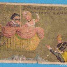 Coleccionismo Cromos antiguos: 6 CAS DE DIVORCE. RESTAURADOR UNIVERSAL DEL CABELLO DE LA SEÑORA S.A. ALLEN.. Lote 114993167